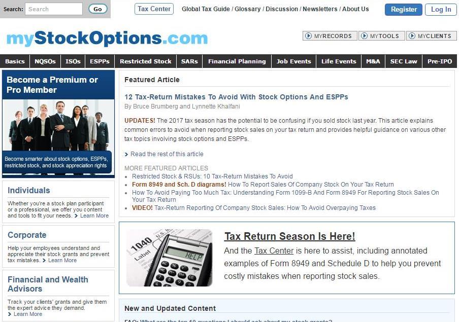 Mystockoptions.com blog