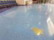 Follow the turtle: The Aruba Airport's new epoxy terrazzo flooring with inlaid figurative medallions representing local fauna has a VB 225 moisture mitigation layer to keep everything dry and smooth.