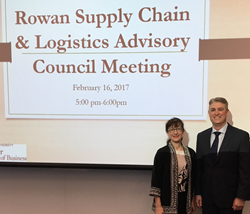 Janis Grover (L), president of Grover Global Food Marketing, is welcomed asa founding member of the new Supply Chain & Logistics Advisory Council in Rowan University's William G. Rohrer College of Business by Andrew Johnson, PhD (R), assistant professor.