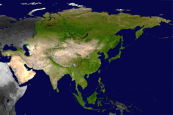 NASA Satellite photo of Asia. Public domain.