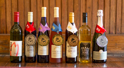 Bottles of award-winning wines from Tsali Notch Vineyard.