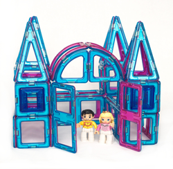 A Mustard Seed Toys Magnetic Tile Princess Castle Set with Prince and Princess