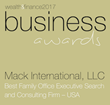 Wealth & Finance International recognizes Mack International LLC as the Best Family Office Executive Search and Consulting Firm in the U.S.A.--2017