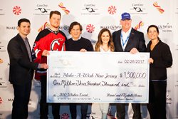 Left to right: Prudential Center Chief Revenue Officer Adam Davis, New Jersey Devils Goalie Cory Schneider, CareOne CEO Daniel E. Straus, Executive Vice President Elizabeth Straus, Make-A-Wish New Jersey CEO Tom Weatherall and Olympic Figure Skater Nancy