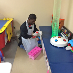 Elijah Shannon works in the hospital child life department after graduating from Project SEARCH.