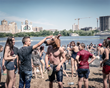 Youth play at Hydropark city beach on Dnieper River. The Kiev metro station connects Hidropark Island to the city and transformed the island to a summer resort for Kievans. © Justyna Mielnikiewicz