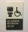 All-gender bathroom facility sign