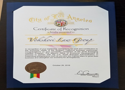 Vokshori Law Group Recognized by LA Mayor Eric Garcetti