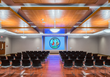 The multi-purpose conference center was designed for both special events and daytime meetings, with floating wood panels on the ceiling that provide a rich ambience.
