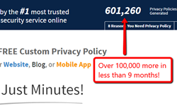 600,000 privacy policies generated from FreePrivacyPolicy.com
