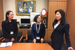 Pacific Delegate V. Ayano Ogawa & Pacific Fellow Mari Miura discuss gender equality in Japan with Diet member Seiko Noda.