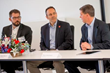 KY Governor Matt Bevin (center) discussed workforce skills development with manufacturers like Balluff CEO Tony Canonaco (right) & Balluff GmbH Managing Director Florian Hermle (left).
