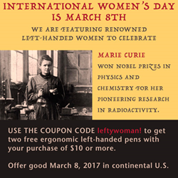 Get 2 free left handed pens on March 8