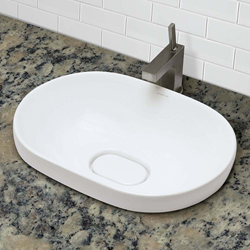 1457-CWH white vitreous china semi-recessed bathroom sink from DECOLAV