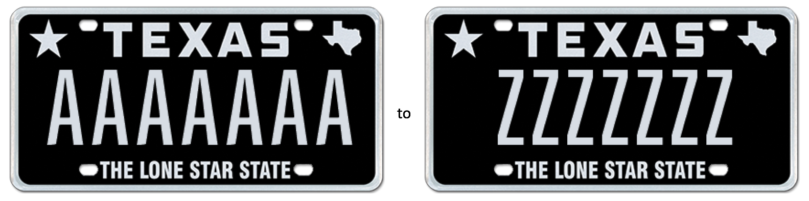 my plates to auction 23 seven letter texas sequential license plate messages. Black Bedroom Furniture Sets. Home Design Ideas