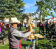 Artists of all mediums emerge to create on the stunning Jackson Town Square during the annual Jackson Hole Fall Arts Festival's popular QuickDraw, taking place Sept. 16, 2017.