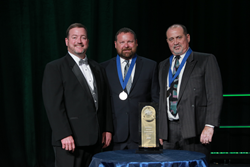 Left to right: ABC National Chair Chuck Goodrich, Manhattan Construction Co. Operations Manager Jim Cuddihee and Safety Manager Dean Ramineh.