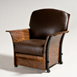 A variety of handcrafted furniture, such as this leather and wood Claro chair by artist Rob Hare, is on display at the Western Design Conference Exhibit + Sale in Jackson Hole (photo by Chris Kendall)