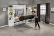 Piston lift mechanisms ensure that the bed folds out smoothly and quietly.