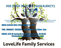 LoveLife Family Services to Host Clark County School District HSE and ELL Classes for Adults Starting March 20 at No Cost and Open to the Public