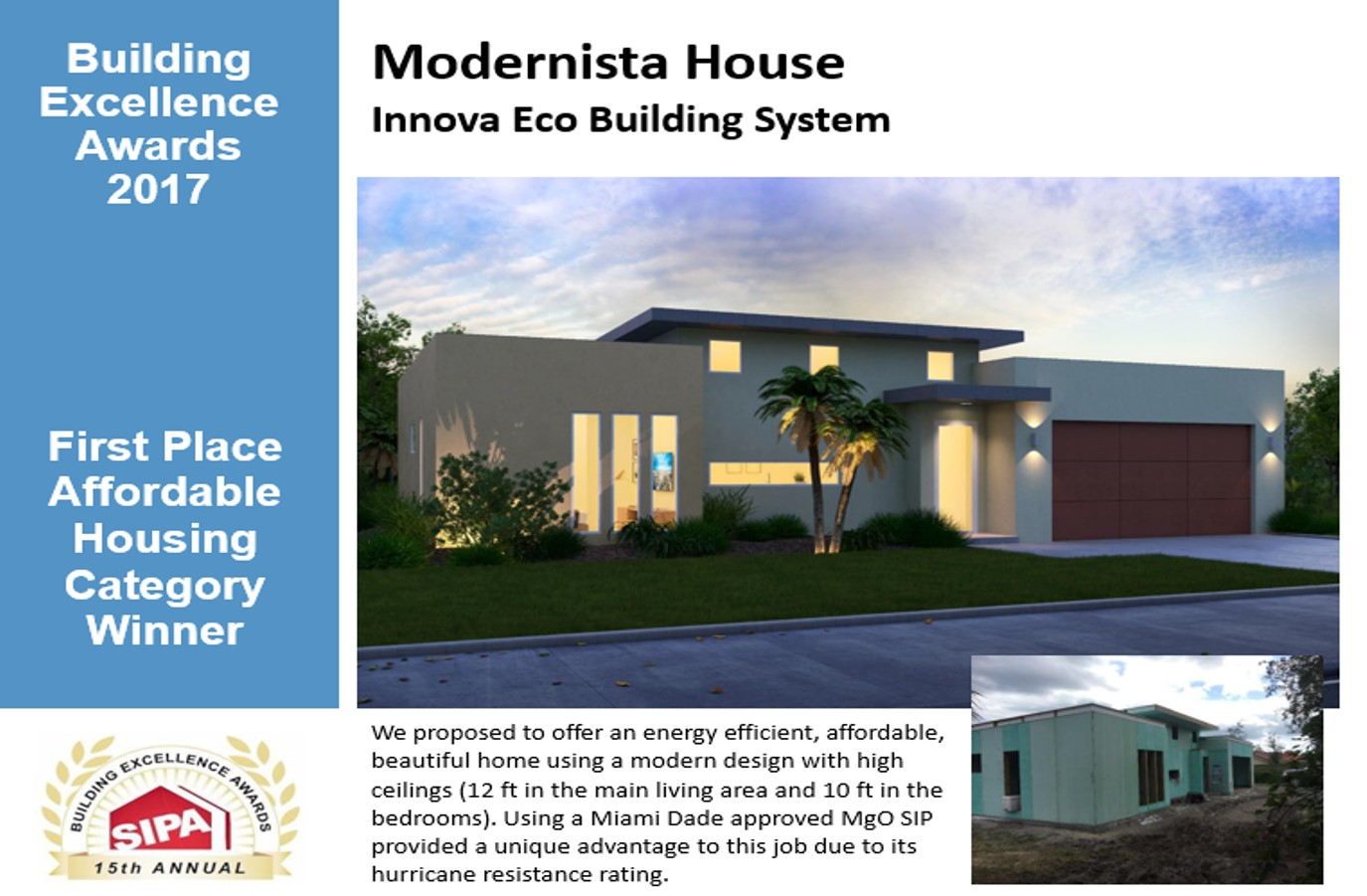 Innova eco building system is a 2017 sipa building for Affordable house construction