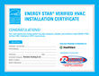 Reliable Heating & Air Issues the Nation's 1st ENERGY STAR Verified HVAC System Installation Certificate