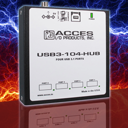 Rugged, Industrial Grade 4-Port SuperSpeed USB 3.1 Hub Features Locking Connections and Extended Temperature Operation