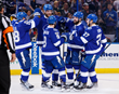 The Bolts Celebrate Another Goal by NHL Superstar Forward Nikita Kucherov at AMALIE Arena - Photo Courtesy of Getty Images