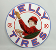 Kelly Tires w/ Lotta Miles Graphic Porcelain Sign, Estimated at $50,000-80,000.