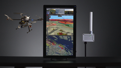 The uAvionix PingStation ADS-B receiver is shown next to a workstation running Kongsberg Geospatial's IRIS UAS airspace situational awareness display