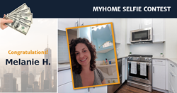 Manhattan homeowner, Melanie H. is wins $2500 in the MyHome Selfie Contest.