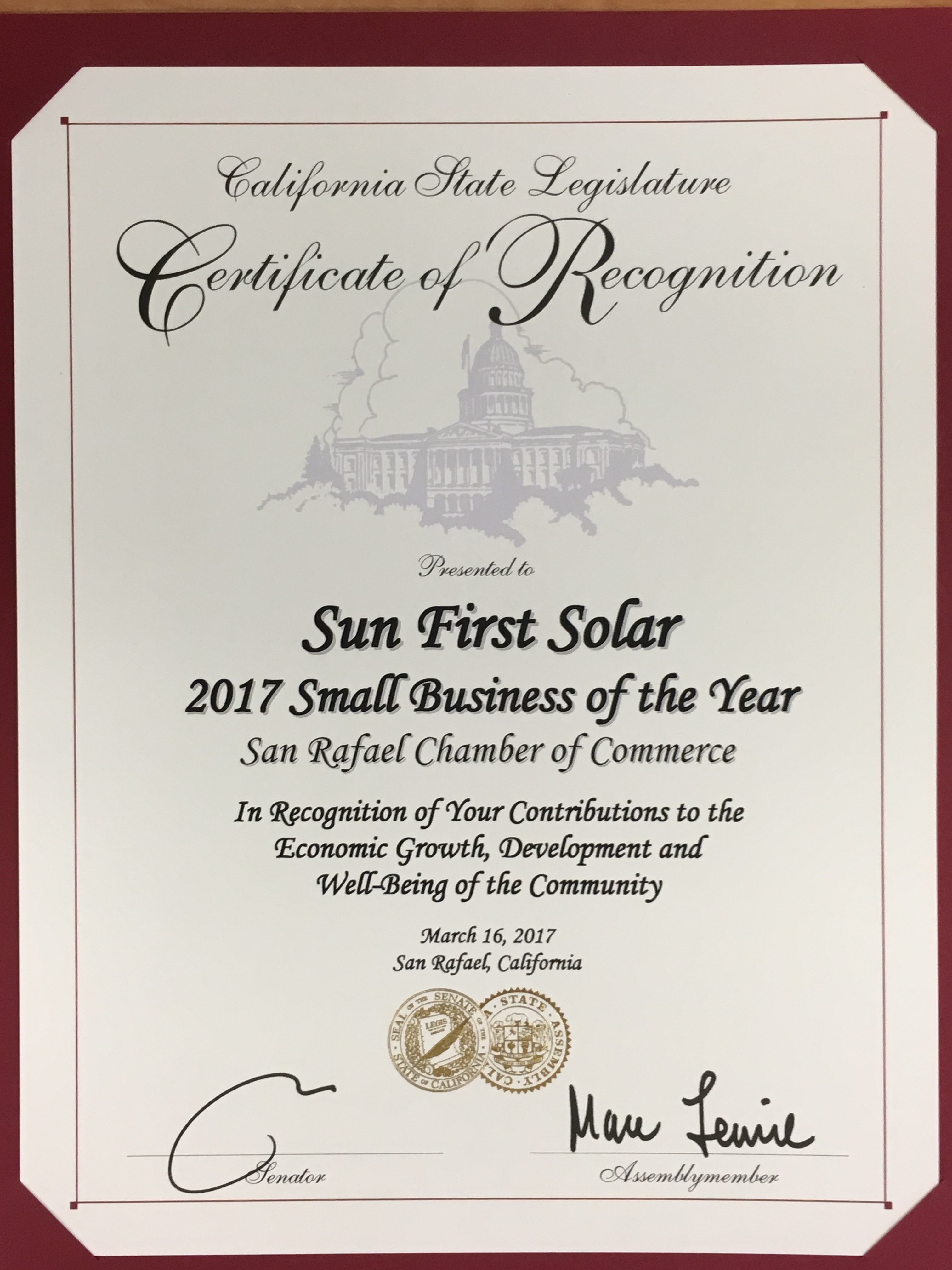 Sun First Solar Shines As Small Business Of The Year Award