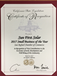 Sun First Solar Shines As 'Small Business Of The Year' Award Bestowed By San Rafael