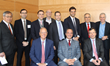 "Michael Stoler (back row, second from right) with the participants of ""Residential Real Estate: Trends and Forecasts,"" the inaugural event from the Fordham Real Estate Institute at Lincoln Center."