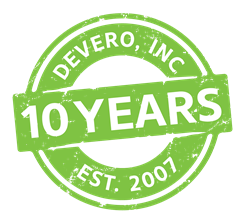 DeVero 10th anniversary emblem celebrating a decade of innovation in clinical charting