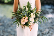 Go Bohemian with layers and textures in all shades of green. Fine or softly-draping leaves give a bridal bouquet its carefree attitude, ideal for a ceremony with a casual, personal style. Designed by