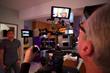 Cinematographer John Kiffmeyer lines up a shot.