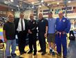 Satoshi Nakama, DeafCoach Riverside Youth Judo Club; Sensei Brian Money; Riverside Police Chief Sergio Diaz; Gary Takemoto, International A Level Olympic Referee; Mayor Rusty Bailey; Sensei Gary Goltz