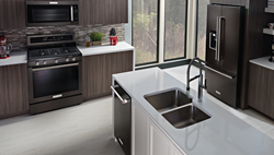 Vernon appliances store now carrying one of the first lines of black stainless steel home appliances.