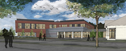 This graphic rendering of Husson University's new College of Business Building was created by WBRC Architects * Engineers.