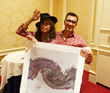 Steven Tyler signs Soundwaves Art Foundation limited editon artwork to benefit Janie's Fund.