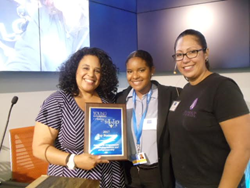 Left Dr. Letitia Wright - Class Facilitator, Middle-Jessica Cedillo, Winner, Right - Carlia Oldfather, Program Director