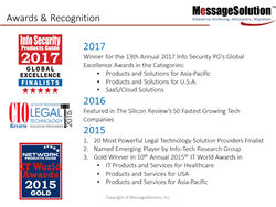 2017 Best Product & Services by Silicon Valley Review - MessageSolution