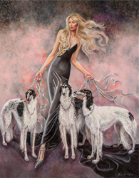 The model- a well-known breeder of borzoi dogs- is featured with three generations of her fabulous hounds.  The breeder's elegant attire  is matched by the innate high-fashion of the hounds. The mood of fantasy is enhanced by the silver leashes.