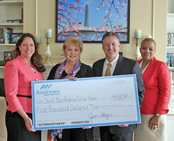 Photo (l to r): Oma George, Chief Retail Officer, Andrews Federal; Janet Grampp, Fisher House Manager; Jim Hayes, President & CEO, Andrews Federal; and Rosalind Bishop, Joint Base Andrews Branch Manager, Andrews Federal