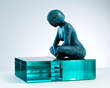 Lake Tranquility Bronze and glass sculpture by Karen Salicath Jamali
