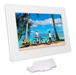 PhotoSpring digital photo frame showing charging stand