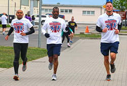Team Andrews(l to r): Jose Ruberte, Wiesbaden Branch Manager, Michael Bartelle, VP European Operations, and Anthony Theodorou, Dealer Relationship Rep, participate in the 5K Run/Walk at the 6th Annual Freedom Run in Wiesbaden, Germany.