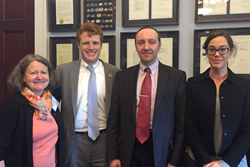 Congressional Visits Day volunteers Barbara Darnell, Viktor Podolskiy, and Judith Birkenfeld, at the office of Rep. Joe Kennedy (D-Massachusetts), second from left.