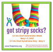 Striped Socks Campaign for Cri du Chat Syndrome Awareness Week May 1-7, 2017
